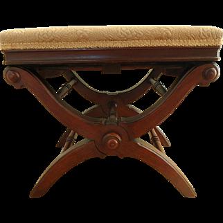 1871 Victorian Renaissance Revival Walnut Adjustable X Taboret Piano Stool