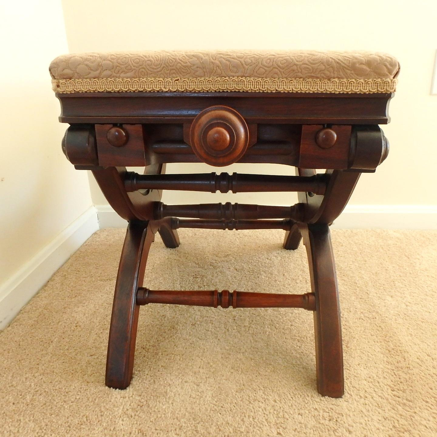 1871 Victorian Renaissance Revival Walnut Adjustable X Taboret