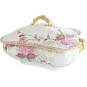 Large Haviland & Company French Porcelain Tureen with Hand Painted Flowers