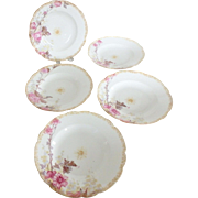 5 Haviland & Company French Porcelain Rimmed Soup Bowls with Hand Painted Flowers