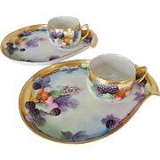 Pair of Hand Painted Tea & Toast Snack Trays with Blackberry Design & Pearl Lustre