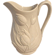 """19th C. White Ironstone Pitcher with Tulip Flower Relief, 10-1/8""""H"""