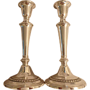 """Pair of Tall Gorham Sterling Silver Weighted Candlesticks with Rope Pattern, 9-1/2""""H"""