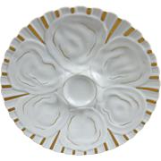 Antique 19th C. Unmarked White Porcelain Oyster Plate with Gold Trim