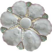Antique 19th C. French Porcelain G. Mansard Paris Oyster Plate with Shell Detail
