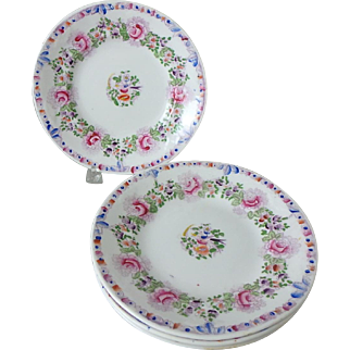 """4 Antique 7-1/4"""" Soft Paste Porcelain Plates with Polychrome Rose and Bird Detail"""