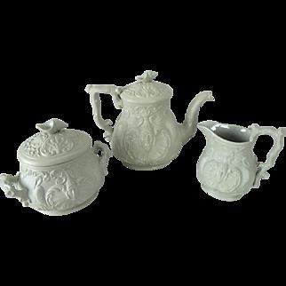Antique Staffordshire Salt Glaze Nautical Shell Teapot Sugar Bowl and Creamer Set