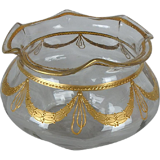 """Victorian Clear Blown Glass Ruffled Edge Bowl Vase with Gilded Garland Trim, 5-1/2""""H"""