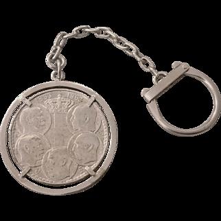 Unusual 1963 Greek 900 Silver Five Kings Centennial 30 Drachmai Coin Key Chain