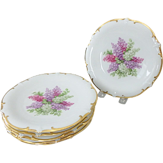 """6 Schumann Arxberg Germany Lilac Time 7-1/2"""" Salad or Dessert Plates"""