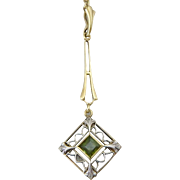 Antique Art Deco 14K White and Yellow Gold Filigree Lavalier Drop Necklace with Peridot