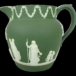 """19th C. Olive Green Wedgwood Jasperware Pitcher, 5-5/8"""" H"""