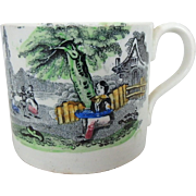 19th C. Staffordshire Child's Mug with Transferware May Pole Scene