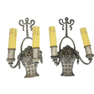 Pair of Silver Gilt French Style Basket of Flowers & Bows 2 Light Electric Wall Sconces