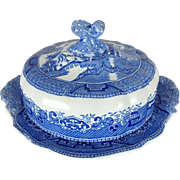 Antique Ridgways Blue Willow Covered Round Butter Dish with Spotted Scroll Finial