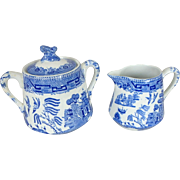 Antique Ridgways Blue Willow Covered Sugar Bowl & Creamer, Spotted Scroll Finial