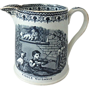 "Blackhurst & Tunnicliffe B&T Staffordshire Black Transferware Jug Pitcher ""Fiddle Nuisance"""