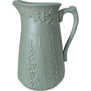 "Antique 19th C. W. Ridgway & Co. Green Salt Glaze Fern & Foxglove Pitcher, 6-1/2""H"