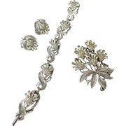Alfred Philippe Crown Trifari Parure Rhinestone Set with Brooch, Bracelet, and Earrings
