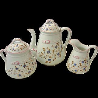 Unusual Hand Painted 19th C. Victorian Porcelain Belt Buckle 3 Piece Tea Set