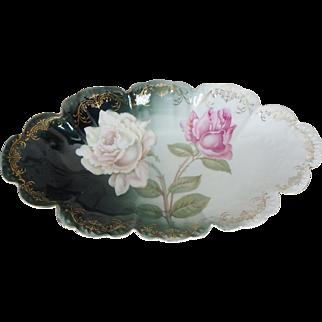 Rosenthal Malmaison Oval Bavarian Porcelain Scalloped Edge Bowl with Roses