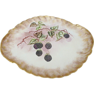 19th C. Delinieres & Co. Limoges Porcelain Tray with Hand Painted Blackberries
