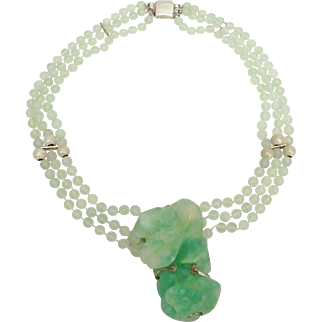 Asian Carved Chrysoprase and Sterling Silver Bead Necklace with Chunky Carved Rose Pendant