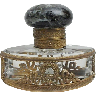 French Cut Crystal Inkwell with Gold Dore Wreath Base and Marble Lid