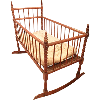 Antique Spool Bed Doll's Rocking Cradle Crib with Mattress & Springs, 23x12