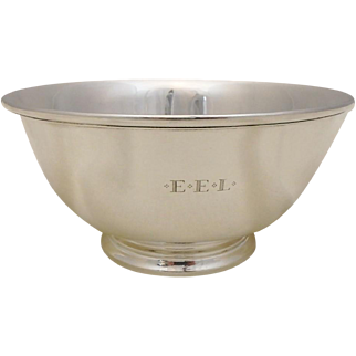 """Antique Tiffany & Co Sterling Silver 8"""" Revere Style Bowl, Makers Mark, 15ozt"""