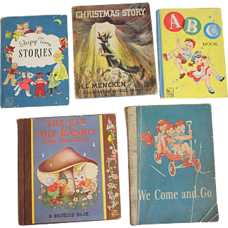 5  1940's Children's Books – Dick & Jane, Brownie Book, ABC's, Christmas with Dust Jacket