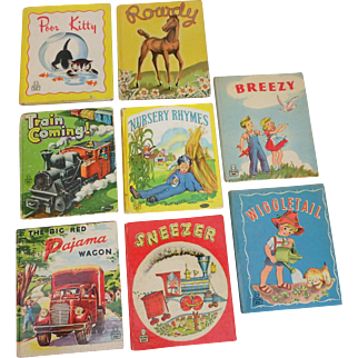 8  1940's Tell a Tale Children's Books Pajama Wagon, Poor Kitty (DJ), Sneezer