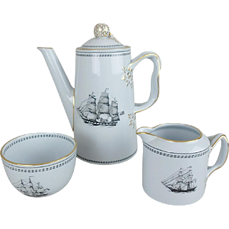 Spode Trade Winds Black Clipper Ship Coffee Pot, Sugar Bowl, & Creamer Set