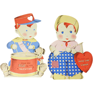 2 Large Die Cut Stand-Up Valentines Day Cards, Drummer Boy and Boy Fishing