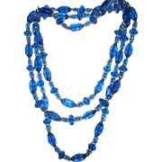52 Inches of Cut Glass Beads, Knotted