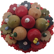 Vintage Czech Pin - Colorful Wooden Beads