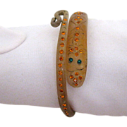 Vintage Snake Wrap Bracelet w Rhinestones