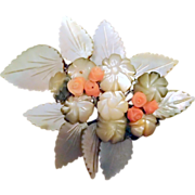Victorian Brooch of Carved Coral & Mother-of-Pearl