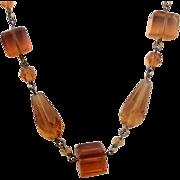 Vintage Topaz Glass Beads - Unmarked Czech