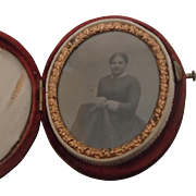 Victorian Photo in Oval Red Velvet Case