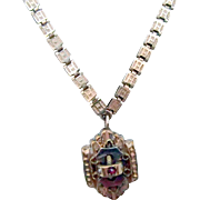 Victorian Book Chain w Jeweled Pendant
