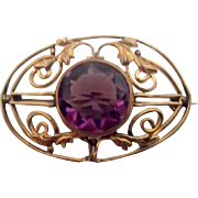 Lovely Old Pin-Brooch w Amethyst Stone