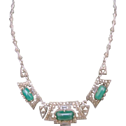 Art Deco Necklace - Sterling, Marcasites, Green