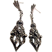 Art Deco Sterling, Marcasite Dangling Earrings