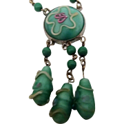 Czech Soft Green Necklace w Lampwork