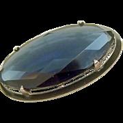 Vintage Sterling, Enamel & Glass Brooch - Pin