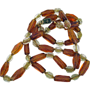 Vintage Glass Beads in Amber, Crystal