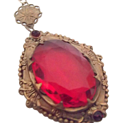 Czech Vintage Pendant in Faceted Red