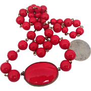 Czech Vintage Necklace in Red Opaque Glass