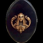 Egyptian Revival  - Black w Brass Goddess